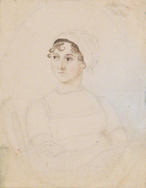 Jane Austen Cassandra Austen ceruza és vízfesték rajzán 1810 körül