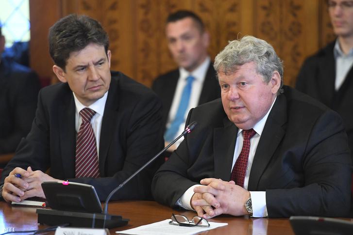 Süli János a paksi atomerőmű két új blokkja tervezéséért megépítéséért és üzembe helyezéséért felelős tárca nélküli miniszterjelölt a meghallgatásán az Országgyűlés gazdasági bizottsága ülésén a Parlamentben 2017. április 18-án. Mellette Aszódi Attila a paksi atomerőmű teljesítményének fenntartásáért felelős kormánybiztos.
