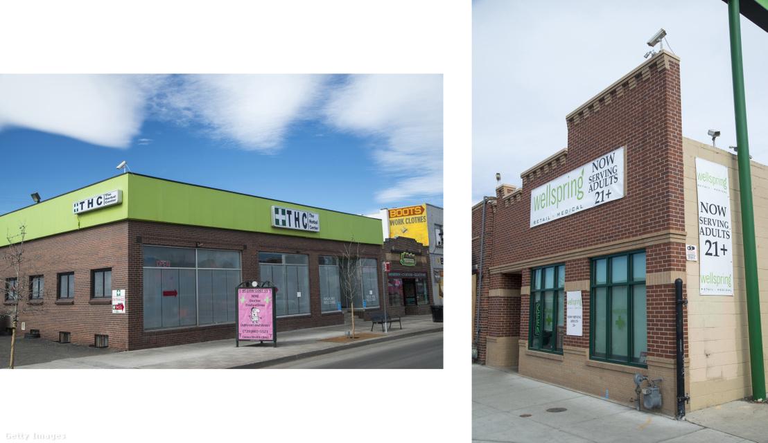 Orvosi marihuánát kínáló üzletek utcafrontjai Denverből