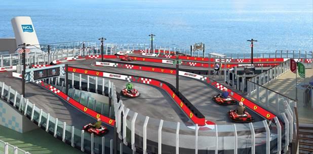 A Ferrari-pirosba öltözött gokartpálya látványterve