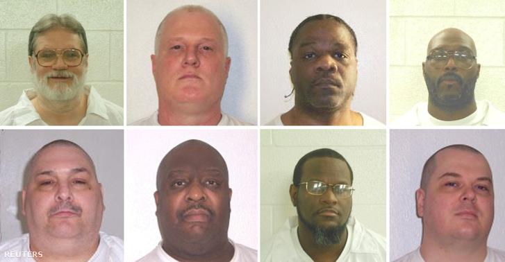 A halálraítéltek, fölső sor balról jobbra: Bruce Ward, Don Davis, Ledell Lee, Stacy Johnson. Alsó sor: Jack Jones, Marcel Williams, Kenneth Williams, Jason Mcgehee.