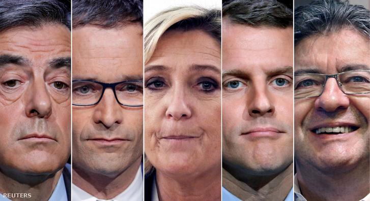 Francois Fillon, Benoit Hamon, Marine Le Pen, Emmanuel Macron és Jean-Luc Melenchon