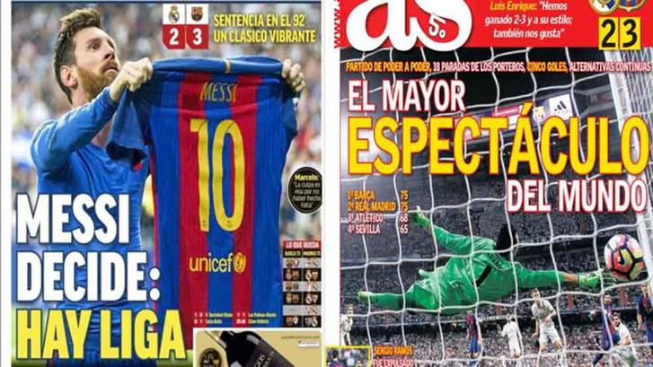 A madridi Marca és AS címlapja