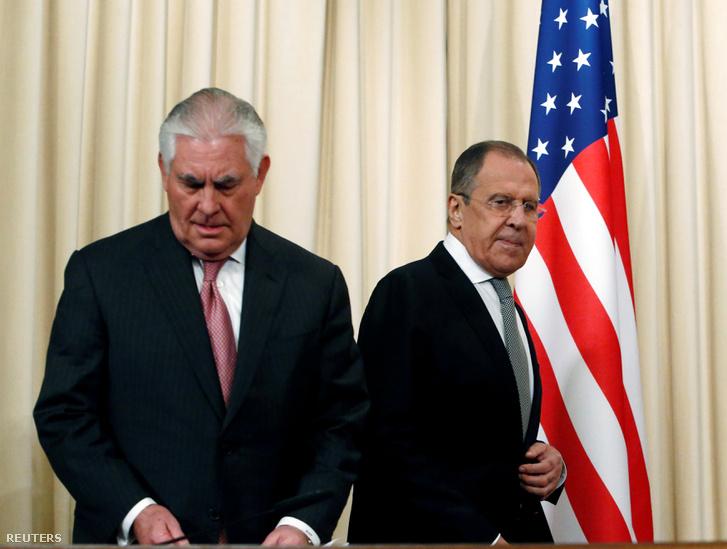 Rex Tillerson amerikai és Szergej Lavrov orosz külügyminiszter Moszkvában, április 12-én