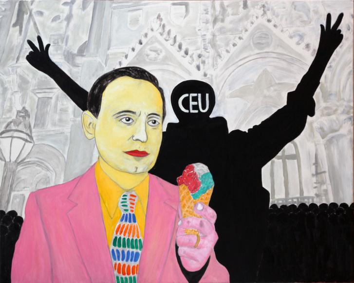 Szálasi Ferenc fagyival kínálja a tüntetőket