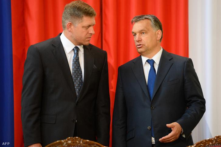Orbán Viktor és Robert Fico a Parlamentben, 2013-ban.