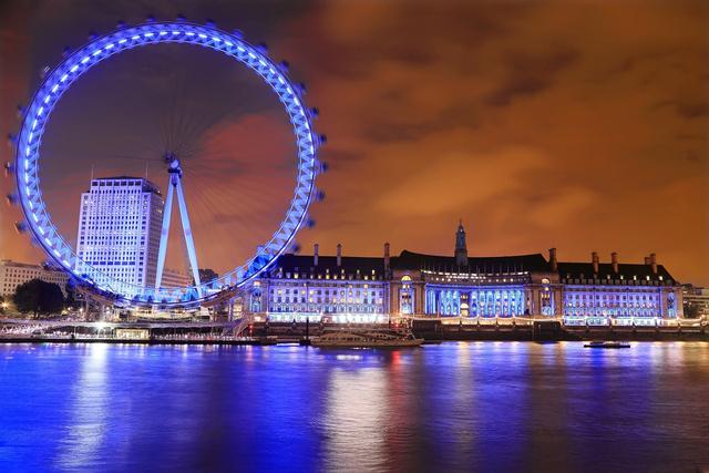 A London Eye esti fényei