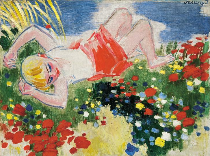 Vaszary János: Kislány a réten, (1930-as évek második fele)