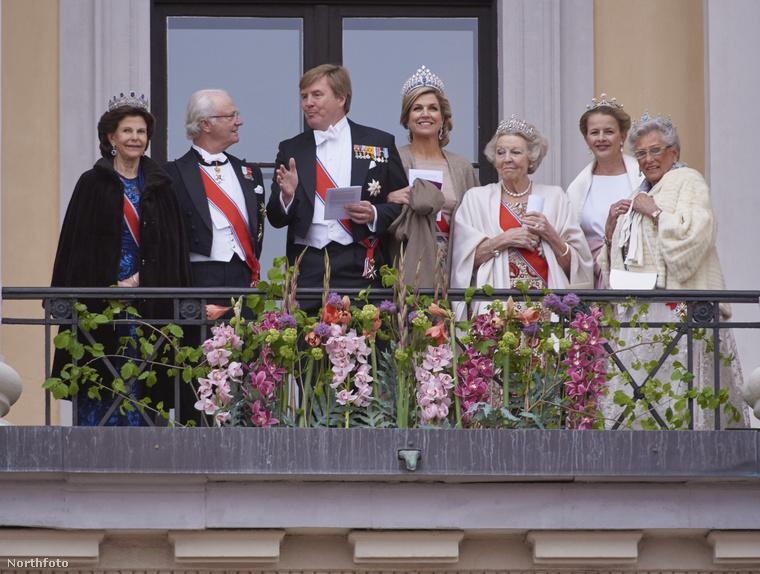 A képen balról jobbra az izlandi uralkodó, Szilvia királynő, Károly Gusztáv svéd király, Vilmos Sándor holland király és felesége, Maxima királynő, valamint Beatrix, Mabel és Asztrid holland hercegnő látható