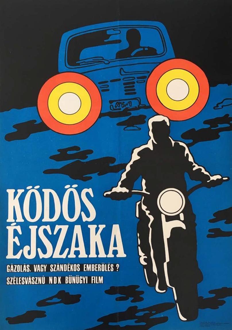 A  kelet-német Ködös Éjszaka című filmet hirdető plakát szintén szintén a pop artot idézi, viszont a grafika 1969-ben készült és látszik is az eltérés a Szervezet plakátjához képest. Az alkotó személye ismeretlen, viszont megjelenik az égetett fotó jellegű kép, amit Finta József vezetett be a plakátművészetbe.                         Finta alapvetően amatőr fotós volt, aztán felfedezték, hogy ugyanannyira remek grafikus is, és az égetett fotó technikát rengeteg grafikus kezdte alkalmazni.