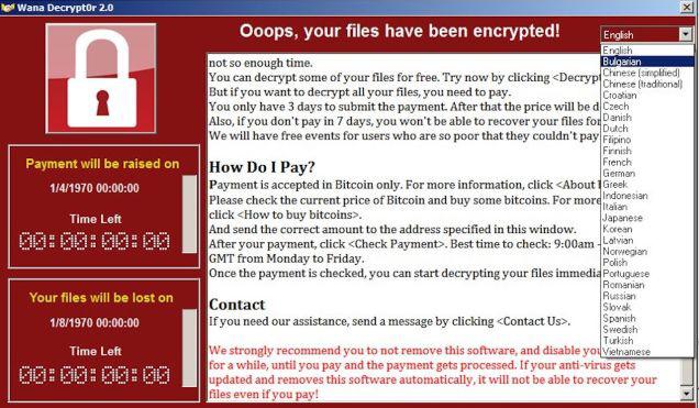 Zsarolóvírus figyelmeztető képernyője egy fertőzött számítógépen.