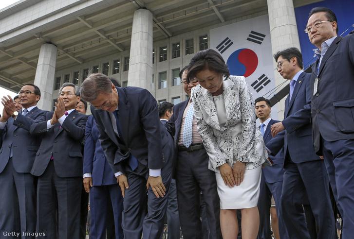 Mun Dzsein és felesége, Kim Dzsongszuk
