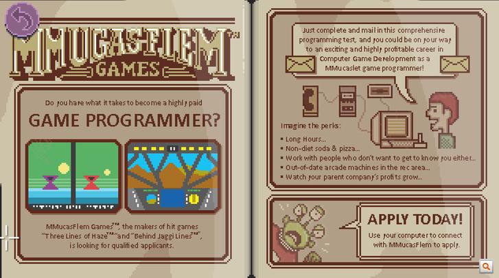 Az ismerős nevű Mucasflem játékcég hirdetése a játékban.