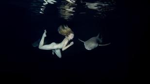 Ez a modell meztelenül tapogatott cápákat, hogy önnek ne kelljen félnie tőlük
