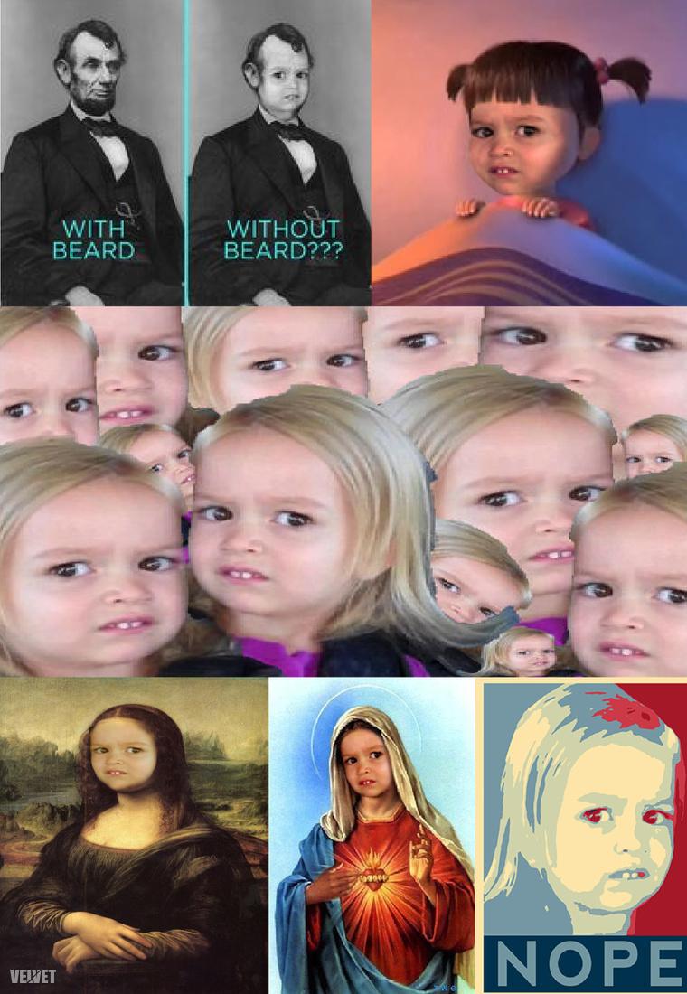 Klasszikus mémek a kislány arcával.