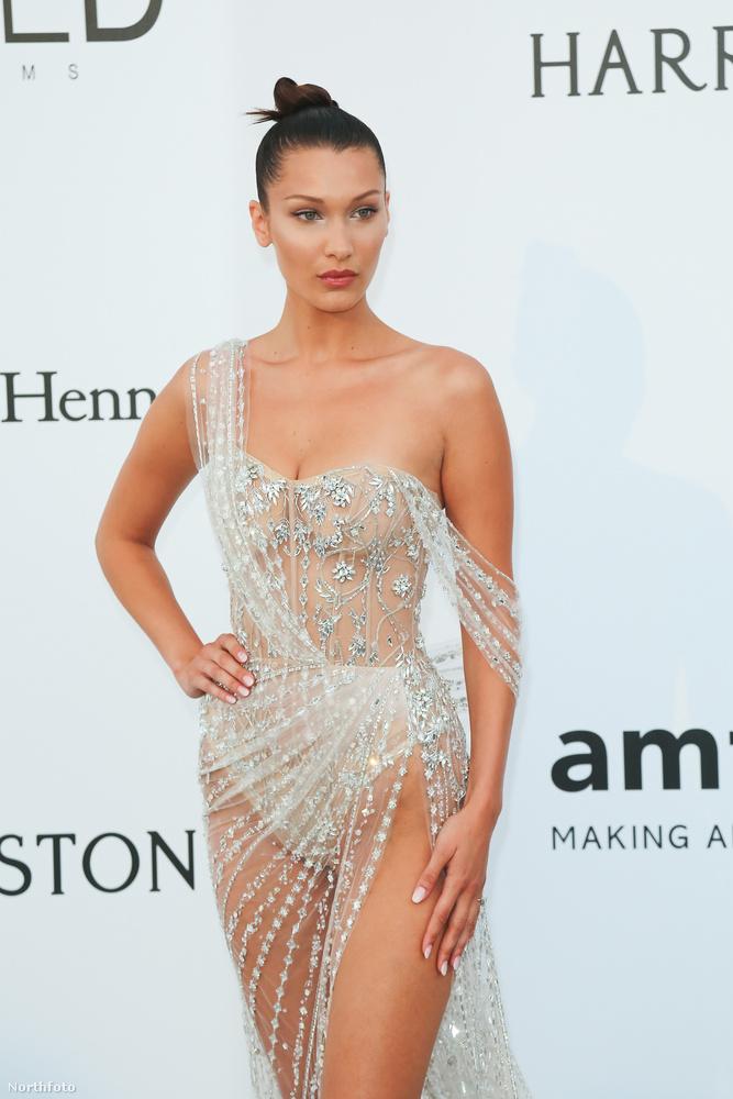 Bella Hadid idén egészen új szintre emelte a sokat sejtető ruhák viselését az idei Cannes-i filmfesztiválon