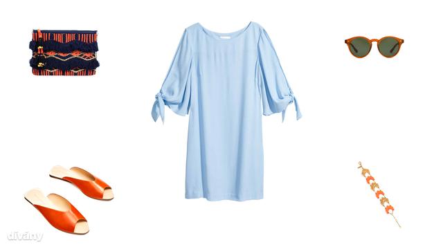 Táska - 8995 Ft (Parfois), ruha - 5990 Ft (H&M), napszemüveg - 4595 Ft (Mango), papucs - 9995 Ft (Zara), karkötő - 4,97 euó (Promod)