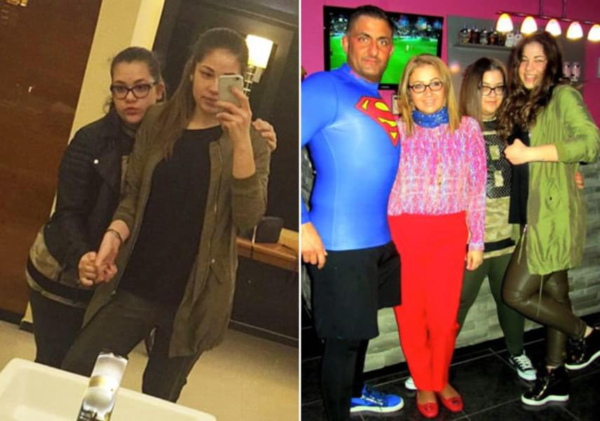 Gáspár Győző és Evelin rendszeresen edzőteremben formálják a testüket, aminek meg is lett az eredménye. A 13 éves Virág a közösségi oldalakra felkerült fotókon inkább nővére takarásába bújik.