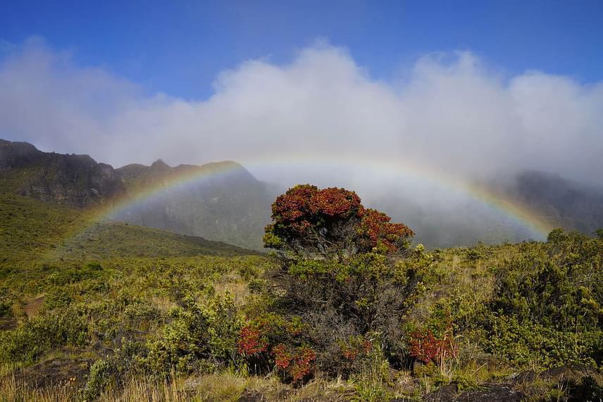 A kráter környékén némi növényzet is található, a sűrű felhők, valamint az esőcseppek okozta szivárvány megjelenése pedig korántsem számít ritka jelenségnek.