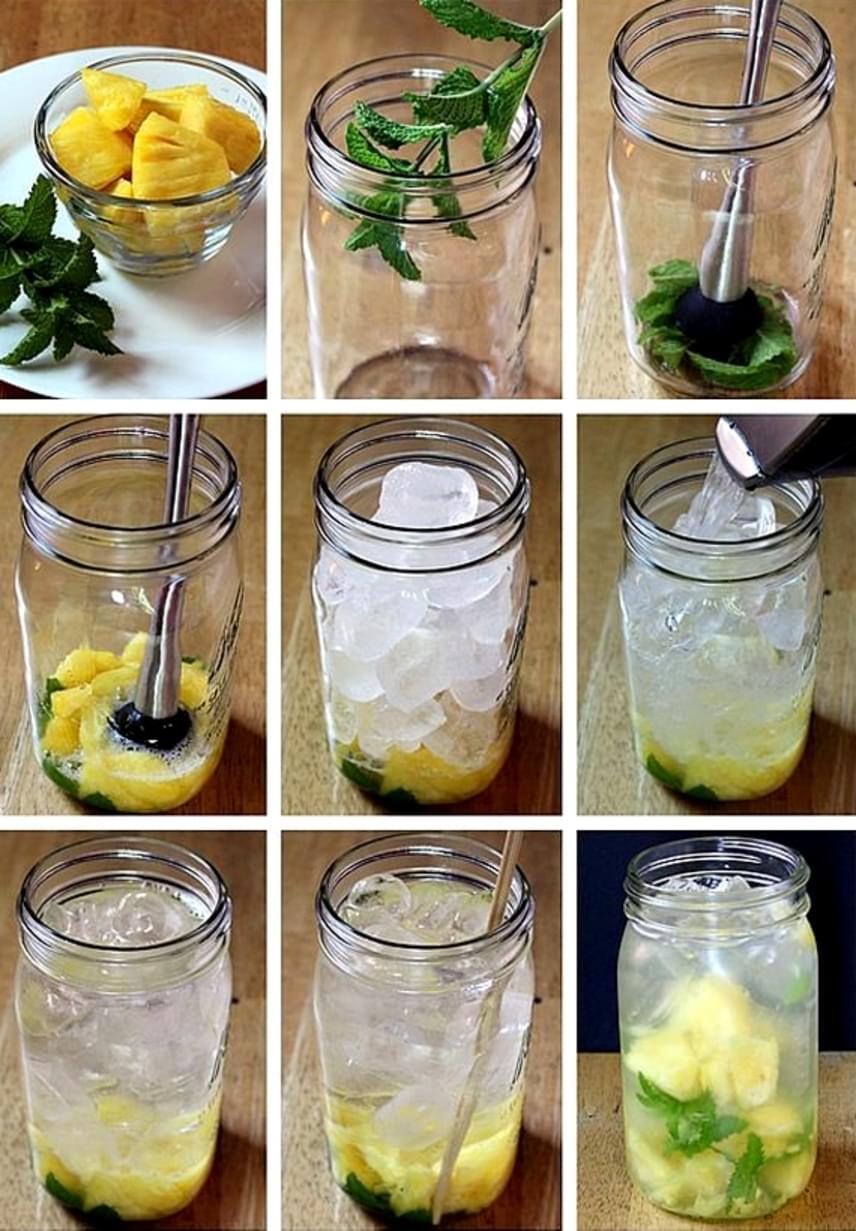 Frissítőként is fogyaszthatod ezt az italt, amely szintén az ananász erejével karcsúsít. Néhány megtisztított mentalevelet törj össze a pohár alján, majd adj hozzá néhány szelet ananászt, amit szintén nyomkodj össze. Töltsd fel a poharat jéggel, majd engedj rá vizet, és keverd el!