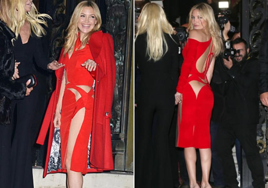 Kate Hudson egy merészen kivágott, tűzpiros ruhában pózolt Donatella Versace mellett. Ez alá ha akart volna, sem tudott volna bugyit venni.