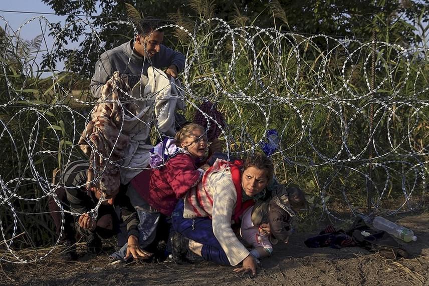 Szír migránsok másznak át a kerítésen Röszkénél - Szabó Bernadett/Reuters