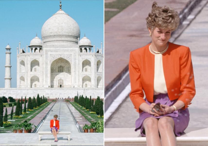 Diana hercegnő 1992-ben tett látogatást az indiai mauzóleumhoz. Habár egyedül volt, mégis boldogan mosolygott a képen.