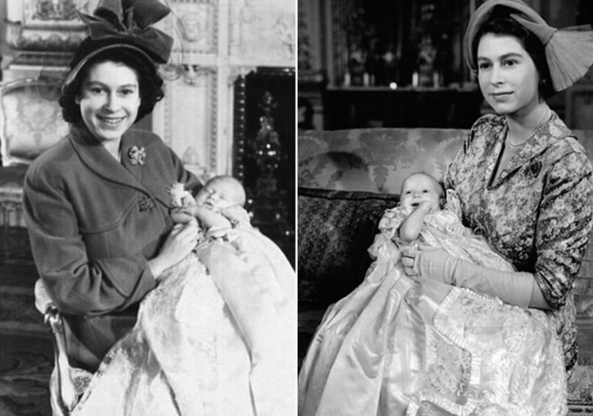 Élete szerelmétől, Fülöp hercegtől négy gyermeke született: Anna, Károly, Edward és András. A képeken Annát és Károlyt fogja a kezében a keresztelőjük napján.