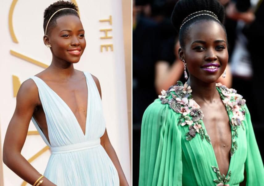 Az Oscar-díjas Lupita Nyong'o-ra méretes keblek nélkül is felfigyelt Hollywood. A kenyai származású színésznő a vörös szőnyegen számtalanszor köldökig kivágott ruhában jelent meg, látszik rajta, hogy nem érdekli, hogy kisebbek a mellei, mint az átlagnak.