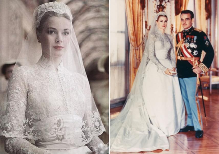 1955 áprilisában az akkor 22 éves Grace Kellyt kérték meg arra, hogy cikket készítsen a herceggel való találkozásról. A szépséges színésznő rögtön elvarázsolta az uralkodót, aki pár hónapra rá meg is kérte a kezét. Az esküvőre egy év után került sor, a pazar menyasszonyi ruha elkészítésében 34 varrónő segédkezett. Három hét alatt alkották meg, 280 méternyi csipkét, 140 méternyi selymet és ugyanennyi tüllt használtak fel hozzá.