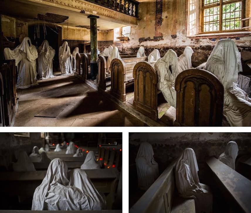 Ekkor jött egy Hadrava nevű művész, aki meglátta a lehetőséget a templomban, és gipsz felhasználásával áttetsző, kísérteties alakokat ültetett a romos templom padsoraiba.