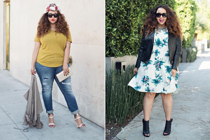 A divatblogger hétköznapi szettjeit is nagyon jó ízléssel válogatja, így az olyan unalmasnak hitt párosításokat is képes hihetetlenül feldobni, mint a farmer-póló vagy az egyberuha bőrdzsekivel.