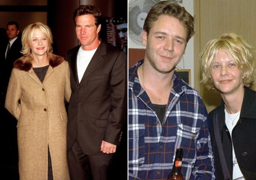 Meg Ryan és Dennis Quaid házassága is egy másik híresség miatt ért véget: a színésznő a Túszharc című film forgatásán beleszeretett Russel Crowe-ba, így be is adta a válókeresetet.