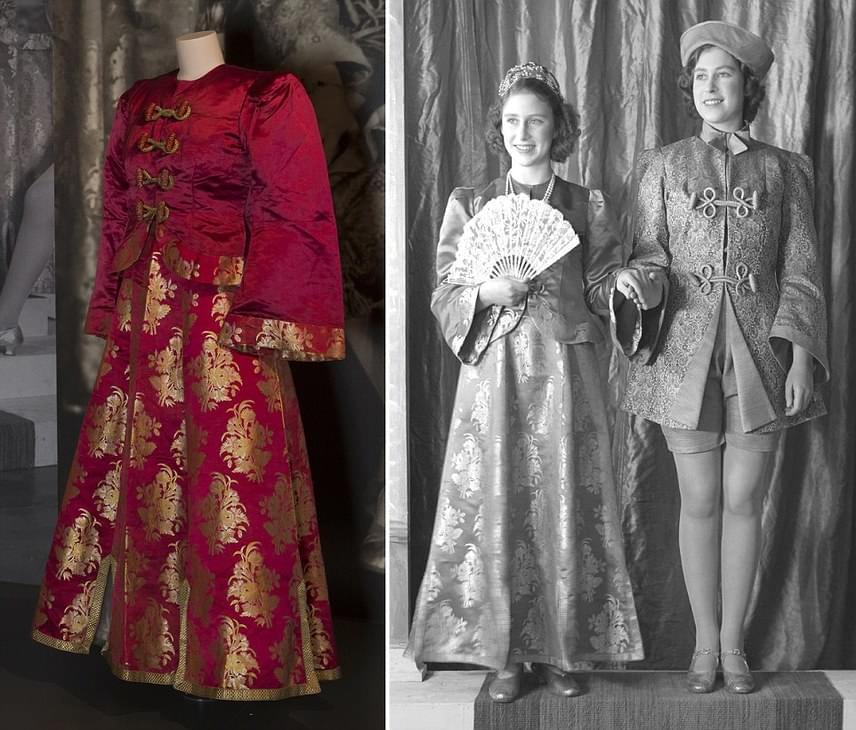 A bal oldalon látható díszes kosztümben egy pantomim-előadásban volt látható Erzsébet hercegnő egyetlen testvérével, Margarettel együtt. A kép 1943-ban készült, Erzsébet 17 éves korában a Windsori kastélyban.