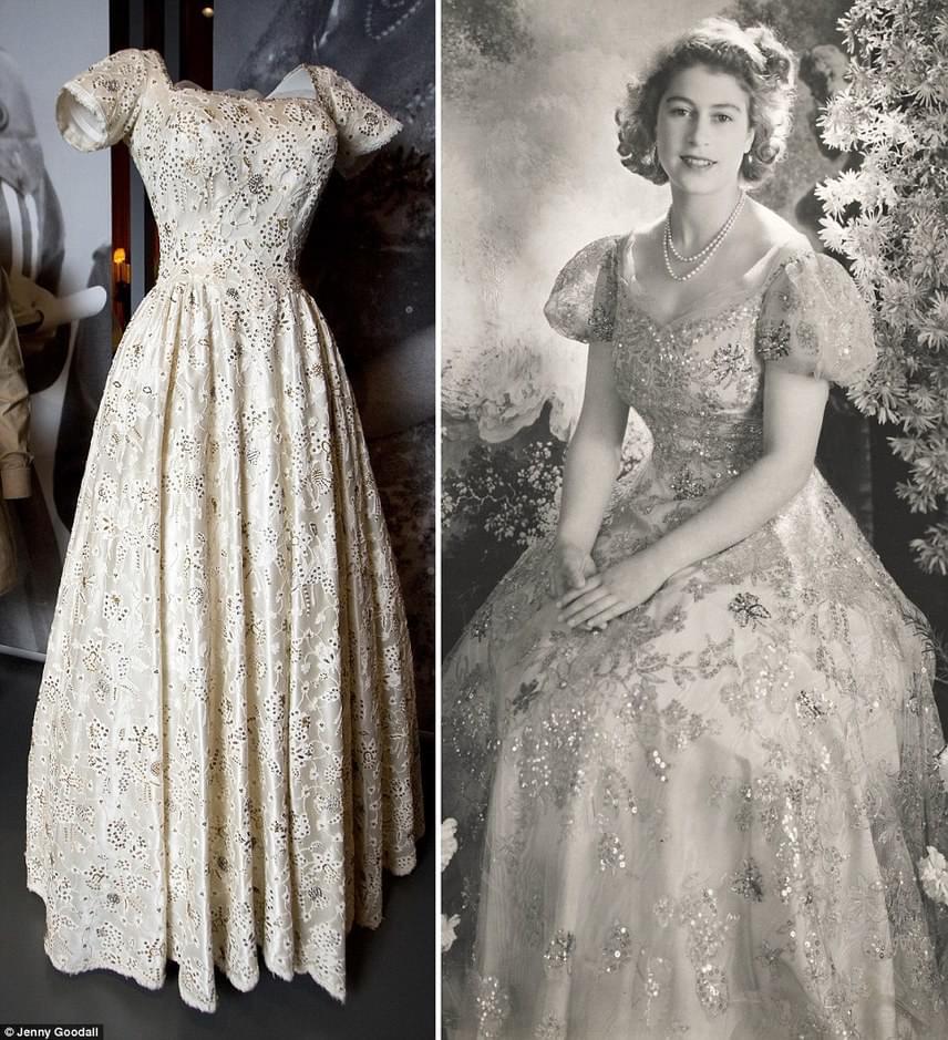 Normal Hartnell, a híres brit ruhatervező álmodta meg ezt a meseszép, kövekkel kirakott ruhadarabot az akkor 19 éves hercegnő számára. A ruhatervező tehetségével olyannyira sikert aratott, hogy később Erzsébet esküvői ruháját is ő tervezte meg.