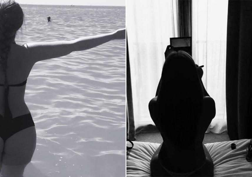 Tolvai Reni nem is olyan régen hasonló fotókkal lepte meg a rajongókat. A bal oldali képen tangás bikiniben, a jobb oldalin pedig szexi, sokat sejtető csipkés ruhadarabban borzolta a kedélyeket.