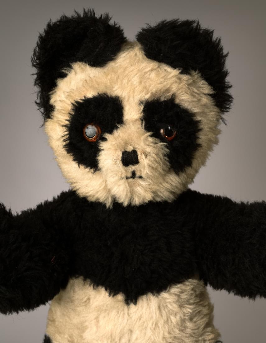 """Panda                         Az ötvenéves játékmackó, Panda a fotós Mark Nixoné: """"emlékszem, amikor gyerekkoromban ölelgettem az ágyamban, akárcsak a fiam, Calum az ő mackóját. Ez inspirált a fotósorozat elkészítésében. Ahogy nőni kezdtem, minden más érdekelt Pandán kívül - lányok és zene főleg -, éveket töltött a szekrény tetején. Onnan egy dobozba vándorolt a padlásra, és egy ultimátumnak köszönhetően tért vissza a szobámba: vidd el, vagy megy a szemétbe. A gyerekek cuccai közé került, onnan vettem elő a fotó miatt. Azt hiszem, ezentúl a számítógépem mellett fog ülni a stúdióban."""""""
