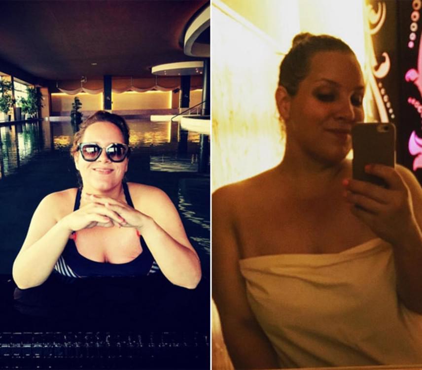 Az énekesnő szeptember elején a húgával wellnessezett: ha nem is egész alakos fotón, de fürdőruhában is megmutatta magát. Van oka rá, hogy fülig érjen a szája, nagyon sokat fogyott.