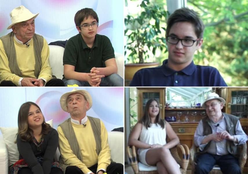 A nemzet színészének, Bodrogi Gyulának egyetlen fiától, Ádámtól két unokája született: Bence 14, Enikő pedig 11 éves. A nagypapa és a gyerekek igyekeznek sok időt együtt tölteni, fiúunokájával például gyakran jár vadászni. Két éve úgy nyilatkozott, sohasem gondolta azt, hogy ennyire rajongani fog unokáiért. A bal oldali fotók két éve, a TV2 Babavilág című műsorában készültek, a jobb oldaliak pedig 2016-ban, az RTL Klub Story Extra című műsorában.
