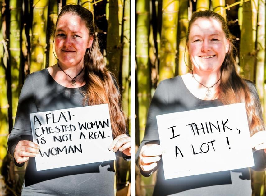 """""""Egy lapos mellű nő nem igazi nő.""""Válasz: """"Gondolkodom. Sokat!"""""""