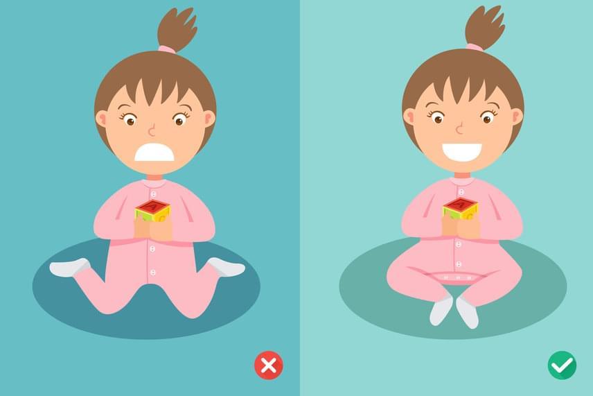 A kép bal oldalán a W-ülést láthatod, jobbra pedig egy alternatívát, melybe átigazíthatod a gyerek lábait. Nemcsak a W-ülés jelent azonban veszélyt a gyerek csontozatára, izomzatára és keringésére. Következő képeinken további helytelen ülőpózokat láthatsz.