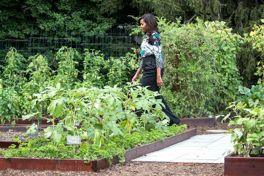 Michelle Obama utolsó sétáján a veteményes kertjében