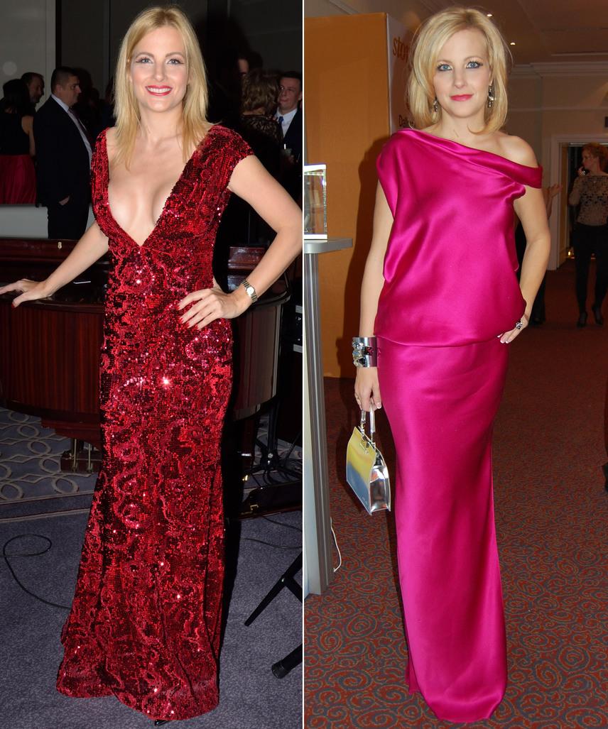 Várkonyi Andrea idén egy mélyen dekoltált Léber Barbara estélyit viselt a Story gálán, míg 2012-ben Benes Anitától, a Daalarna tervezőjétől választott egy visszafogott, pink színű ruhát.