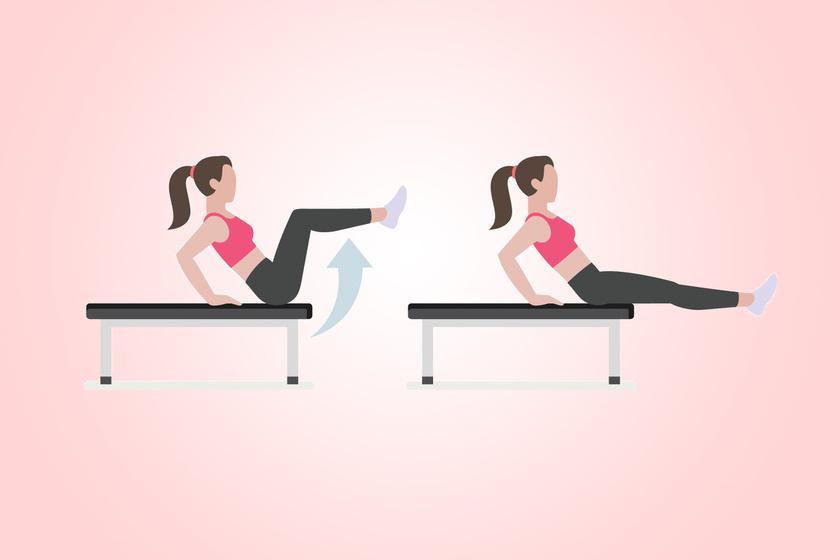 Támaszkodj meg egy kemény felületen - például asztalon - 45 fokos szögben, emeld a térdeidet a mellkasod felé, majd engedd le vízszintesig, de ne dőlj előre, és a combod ne támaszd az asztalon.