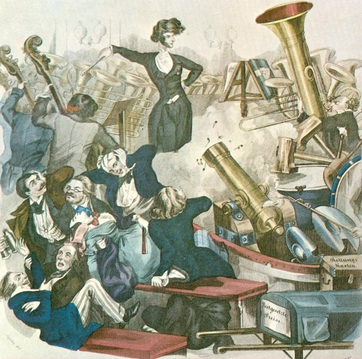 Karikatúra Berliozról, ahogy hatalmas romantikus zenekarát vezényli