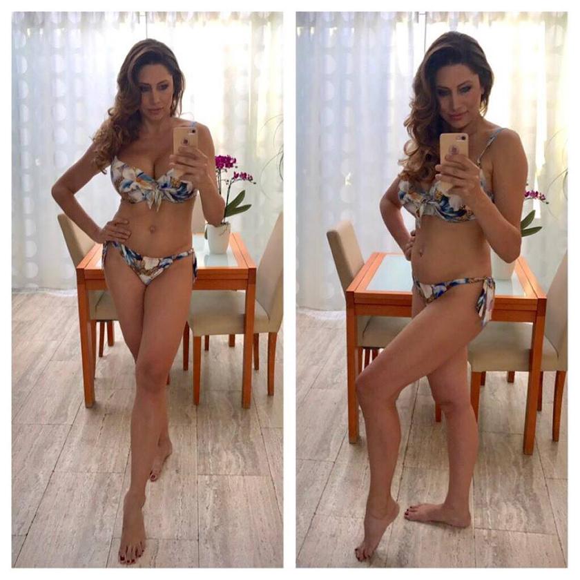 Alig egy hónappal a szülés után majdnem bikiniformában - írta Horváth Éva a képhez.