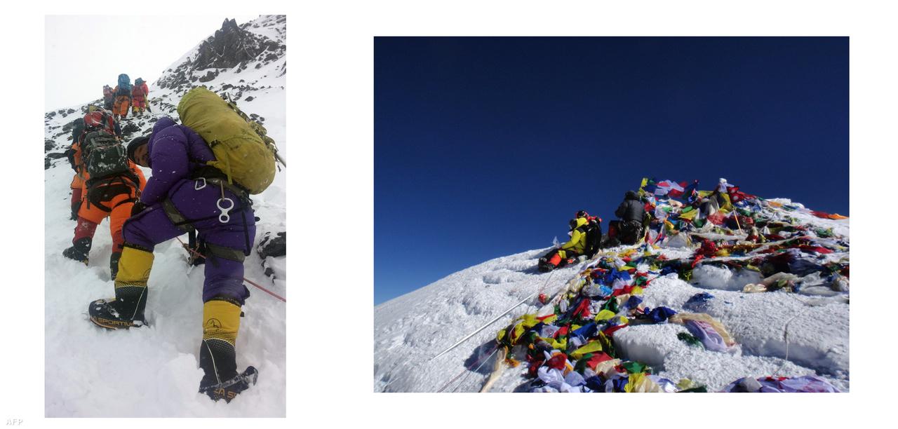Balra: Tömegek állnak sorban a Mount Everesten, hogy hozzáférjenek a csúcshoz. A kilencvenes évektől eltűnt az alpinizmus pionírszelleme erről a hegyről.  Jobbra: A világ legmagasabb pontja. ( / AFP)