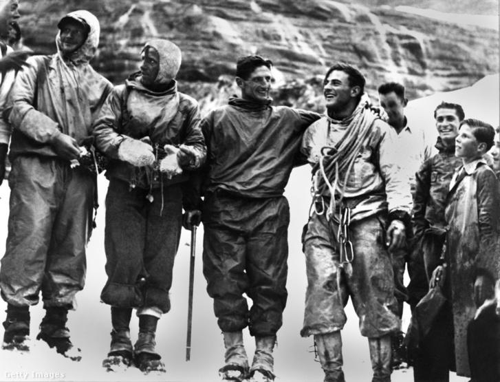 Az Eiger északi falának első megmászói 1938-ban: Heinrich Harrer, Fritz Kasparek, Anderl Heckmair és Ludwig Vörg ( / Getty Images Hungary)