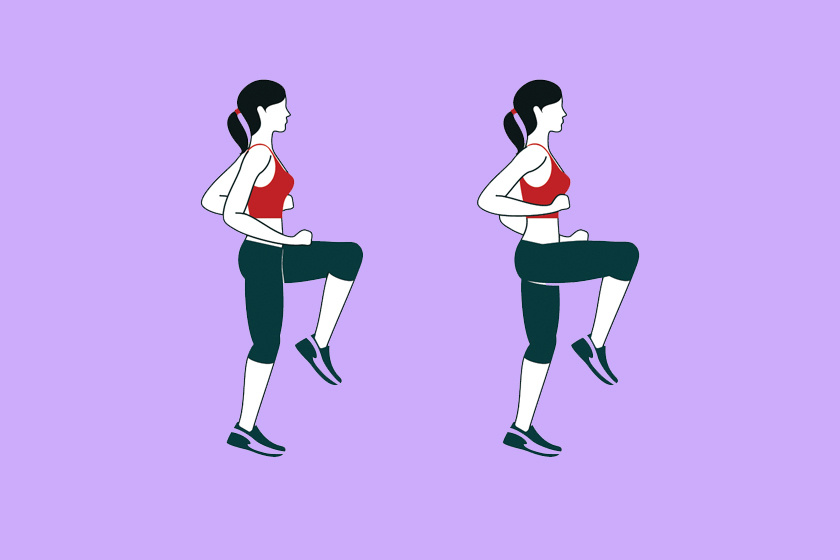 Kezdj magas térdemeléses futással. Az egy percben sprintelj, a fél percben kocogj, de arra mindig ügyelj, hogy a mozdulatokat csináld végig, ne kapkodd el.