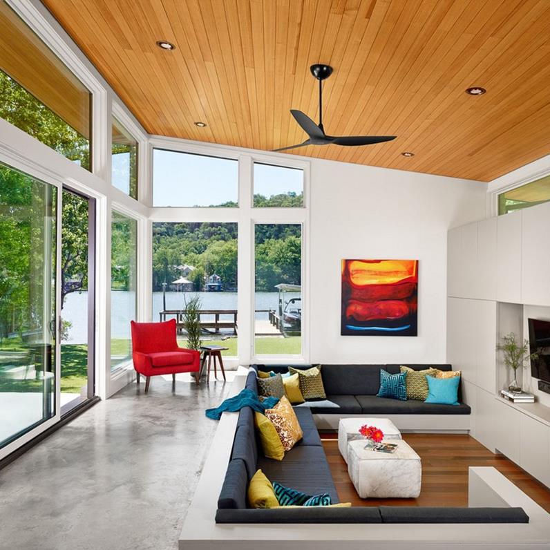 Viszonylag kisebb alapterületű helyiségben is megvalósítható egy süllyesztett nappali.
